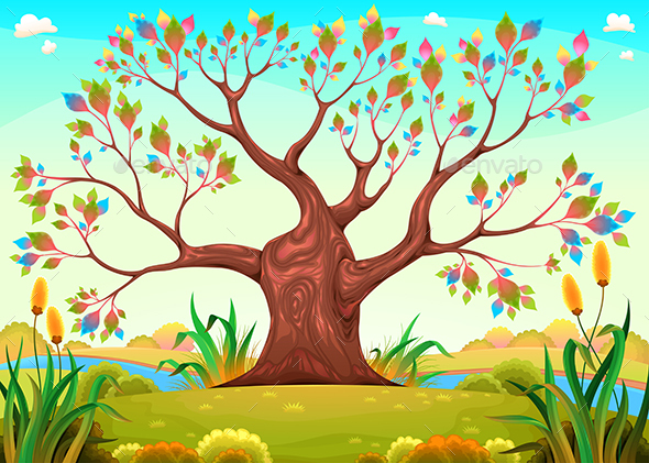 GraphicRiver Happy Tree in the Countryside 21203991