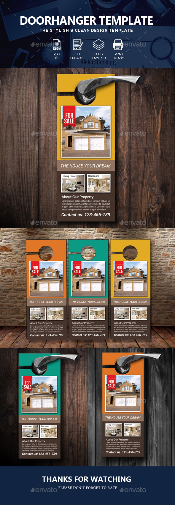 Real Estate Door Hanger Template by Business_Flyers | GraphicRiver