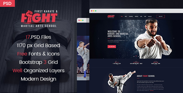 Fight - Karate/Martial Arts School PSD Template Free Download | Nulled