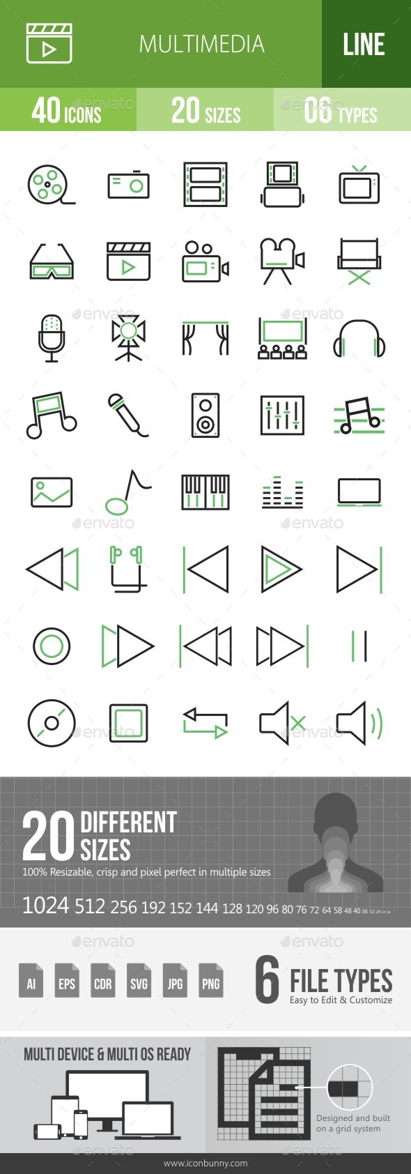 40 Multimedia Green & Black Line Icons - Icons
