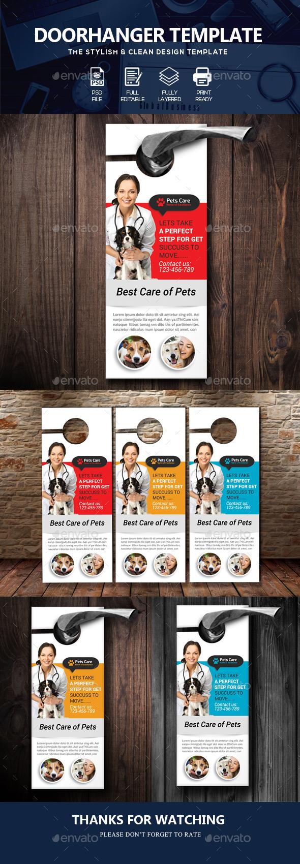 Pets Doctor Clinic Door Hanger Template - Miscellaneous Events