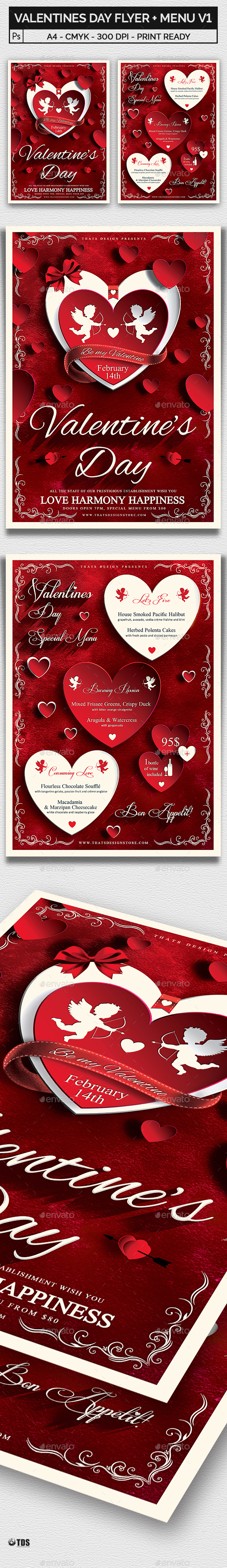 Valentines Day Flyer + Menu Bundle V1 - Holidays Events