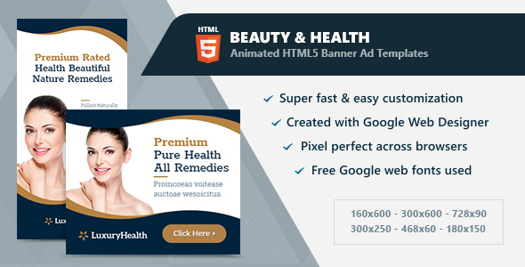 CodeCanyon HTML5 Animated Banner Ads Beauty & Health GWD 21204289
