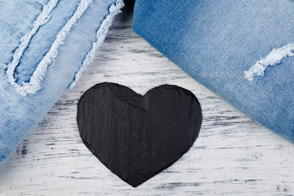 Denim. Jeans texture background. Valentine Day. - Stock Photo - Images
