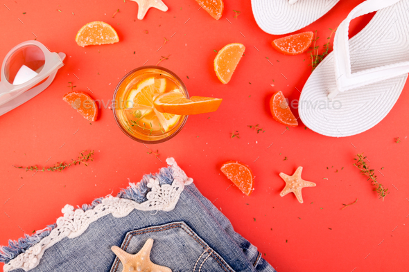 Summer vacation. Orange fruit cocktail - Stock Photo - Images