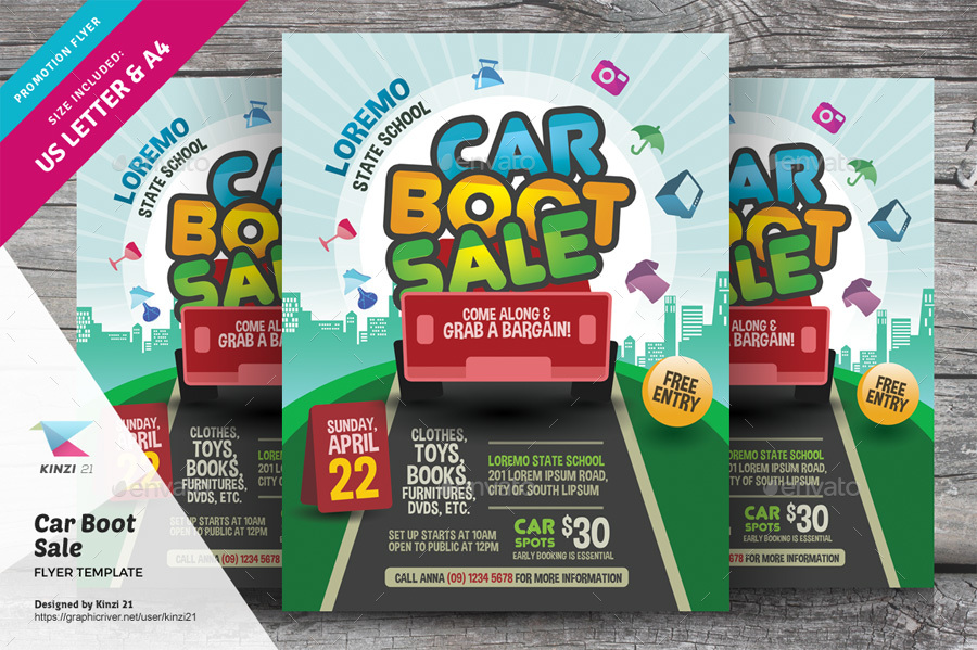 Car Boot Sale Flyer Template By Kinzi  Graphicriver