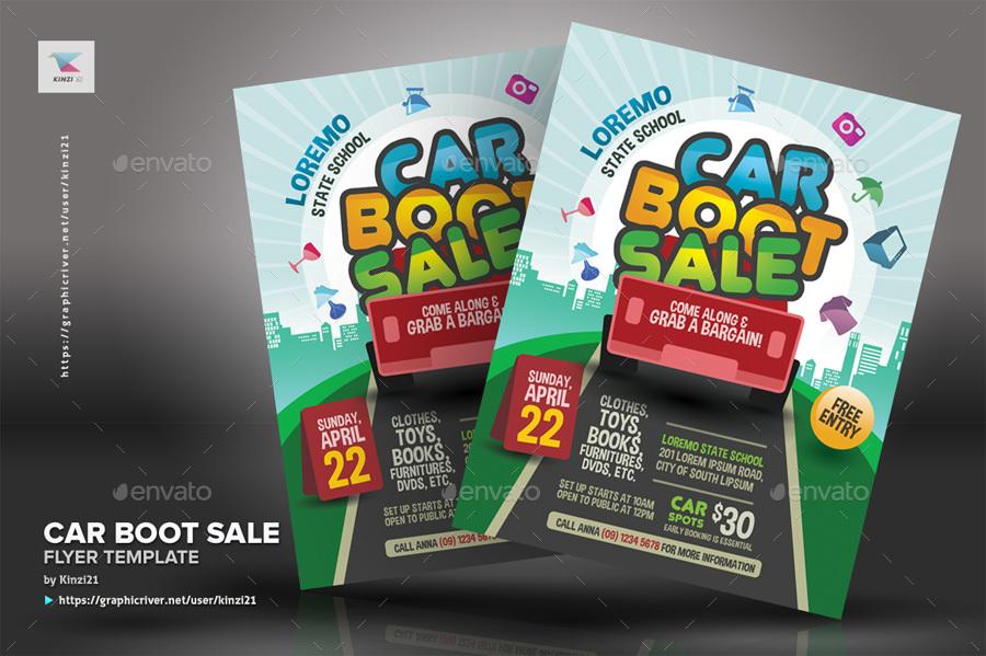 Car Boot Sale Flyer Template By Kinzi GraphicRiver - Car for sale flyer template free