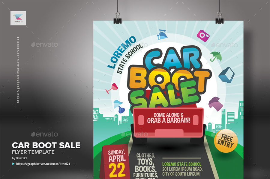 Car Boot Sale Flyer Template By Kinzi21 Graphicriver