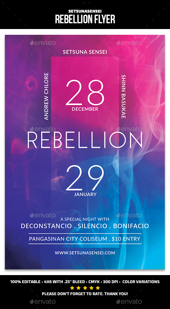 Rebellion Trance Flyer - Events Flyers