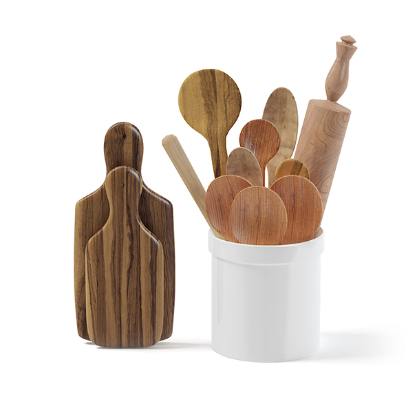 Wooden Kitchen Utensils 3D Model - 3DOcean Item for Sale