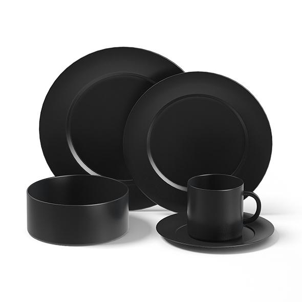 Black Dishes Set 3D Model - 3DOcean Item for Sale