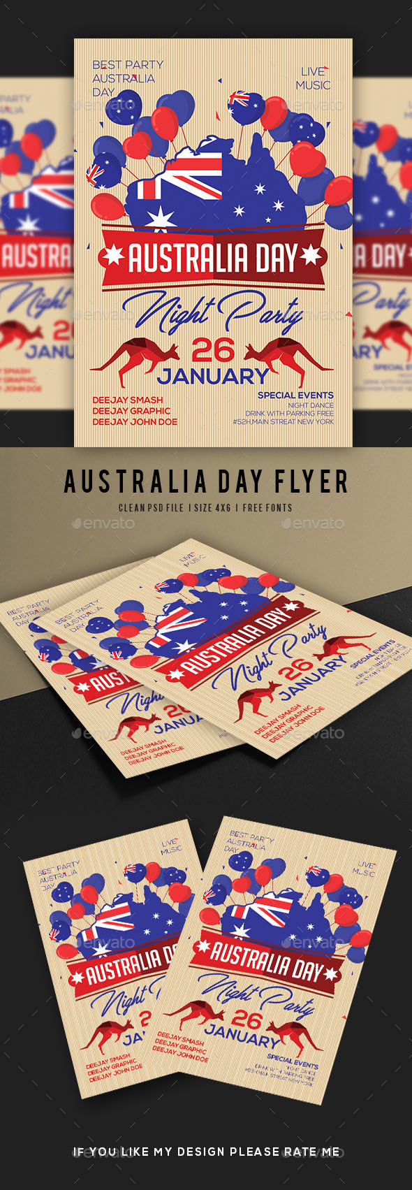 Australia Day Party Flyer - Flyers Print Templates