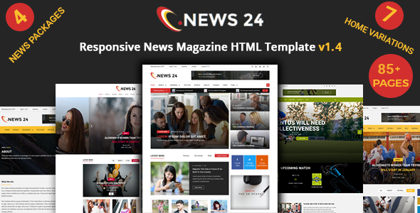 News 24 - News Magazine, Soccer News & Sports News HTML Template - Entertainment Site Templates