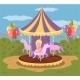 Vintage Carousel with Horses, Amusement Park
