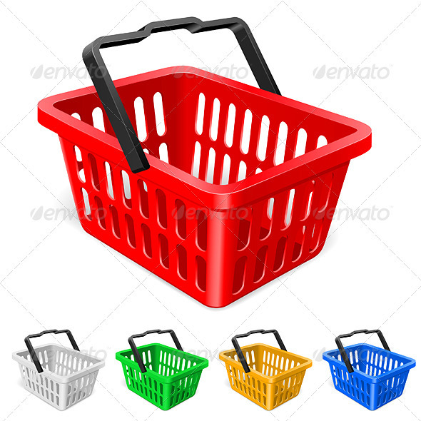 Colorful shopping basket - Characters Vectors