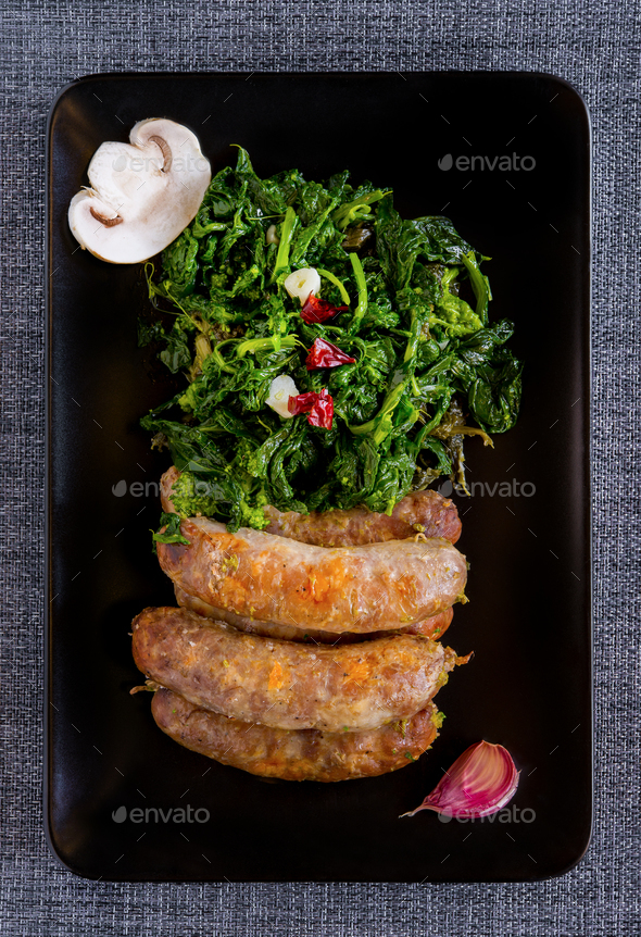 sausages and broccoli - Stock Photo - Images