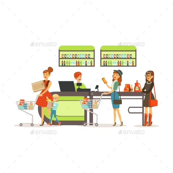 GraphicRiver People Shopping in Supermarket Women Paying 21204859