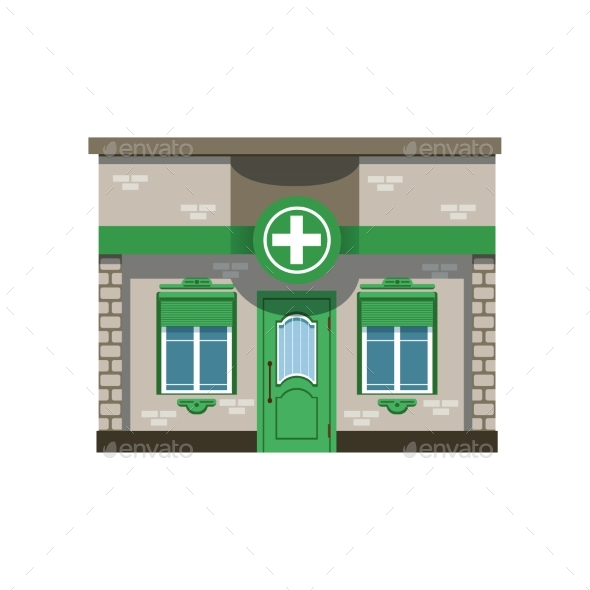 GraphicRiver Pharmacy Drugstore Building Facade Vector 21204897