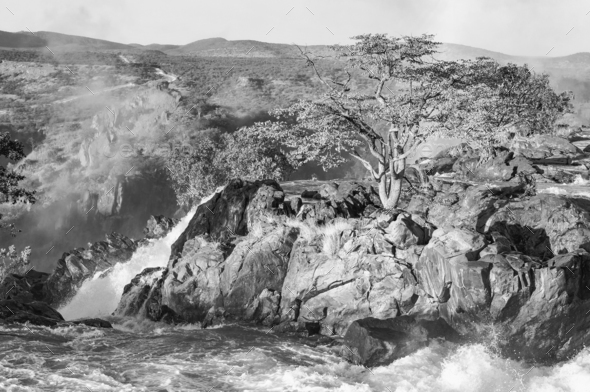 The Ruacana waterfalls, Namibia . Monochrome - Stock Photo - Images