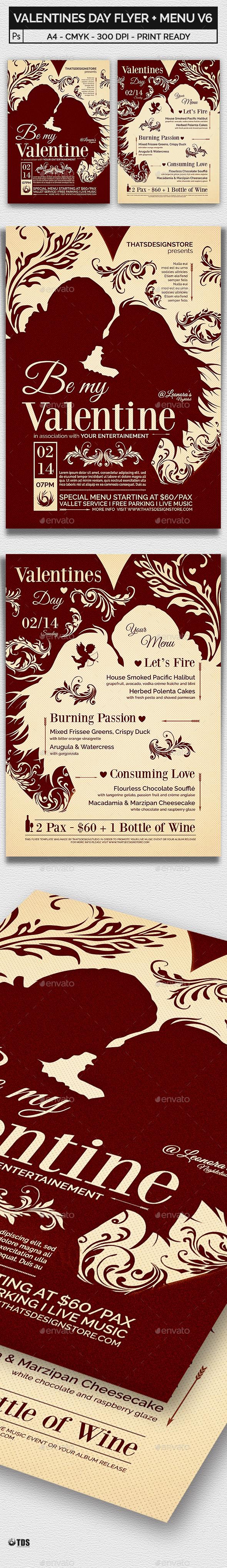 Valentines Day Flyer + Menu Bundle V6 - Holidays Events