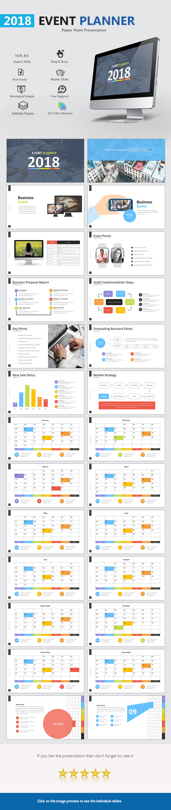 Event Planner 2018 Presentation - Business PowerPoint Templates