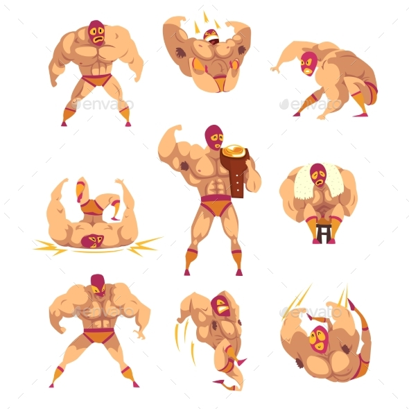 Set of Professional Muscular Wrestler - Sports/Activity Conceptual