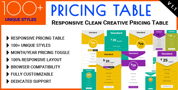 CodeCanyon Pricing Table Responsive Clean Creative Pricing Table 21166987