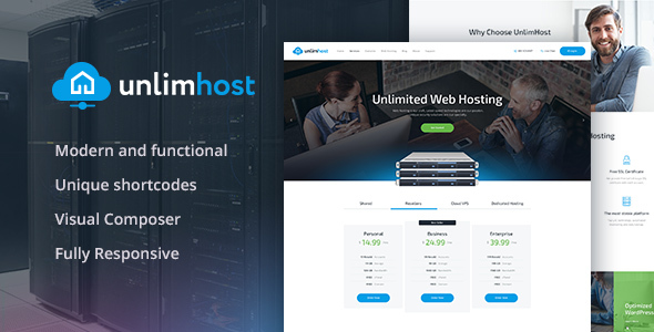 ThemeForest UnlimHost Hosting & Technology WordPress Theme 21205221