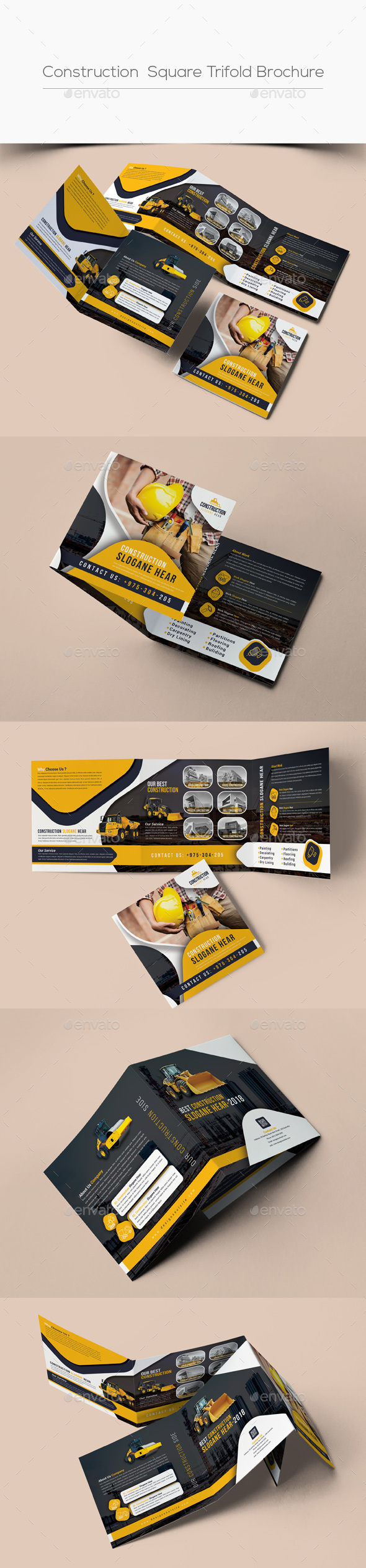 Construction Square Trifold Brochure - Corporate Brochures