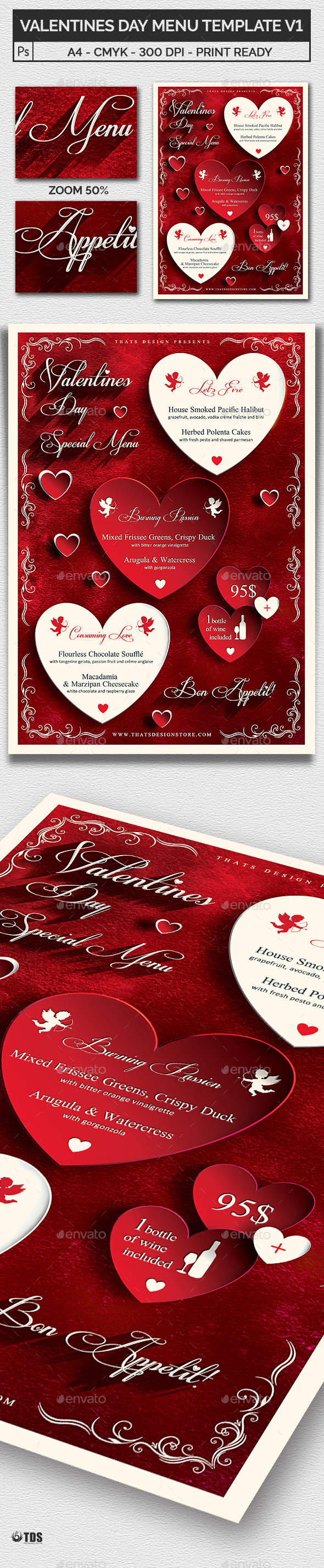 Valentines Day Menu Template V1 - Holidays Events