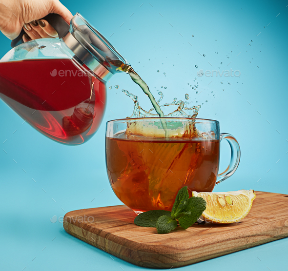 The herbal tea on a blue background - Stock Photo - Images