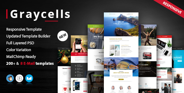 Image of Graycells Email v3 | Responsive 200 + Modules