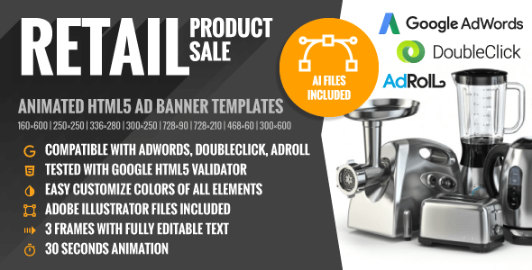Retail | Product Sale - Animated HTML5 Banner Ad Templates (GWD) - CodeCanyon Item for Sale