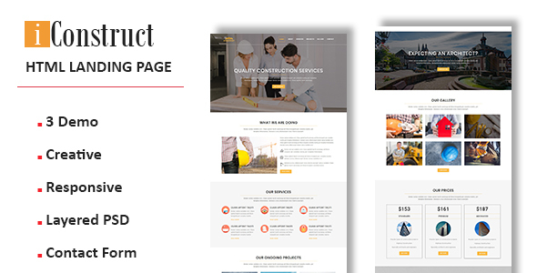 iConstruct - Multipurpose Responsive Landing Pages