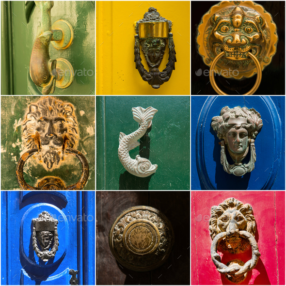 Photo collage of iron door knockers of Malta - Stock Photo - Images