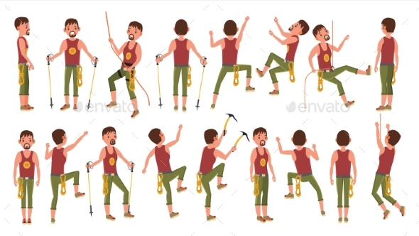 Rock Climber Boy Set Vector - People Characters
