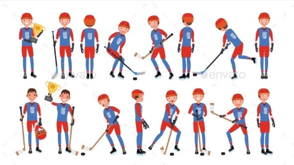 Modern Ice Hockey Player Vector - People Characters