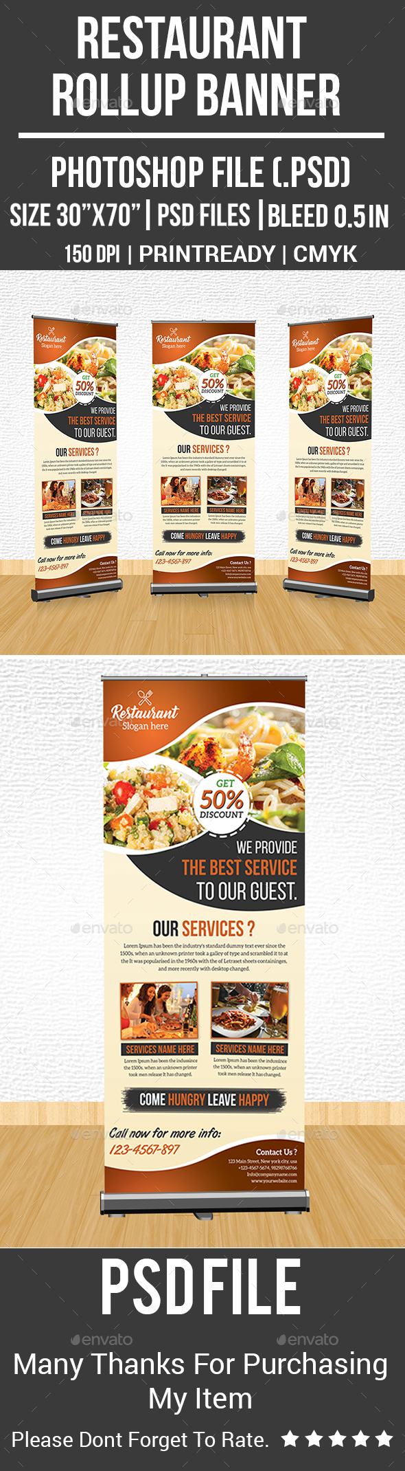 GraphicRiver Restaurant Rollup Banner 21193976