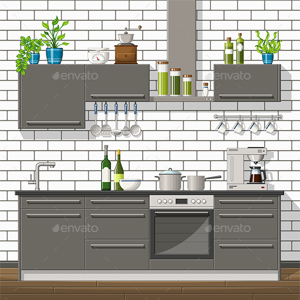 GraphicRiver Illustration of a Modern Kitchen 21205680