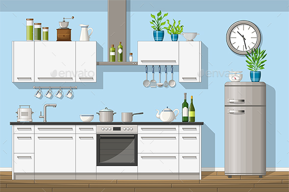 GraphicRiver Illustration of a Modern Kitchen 21205683