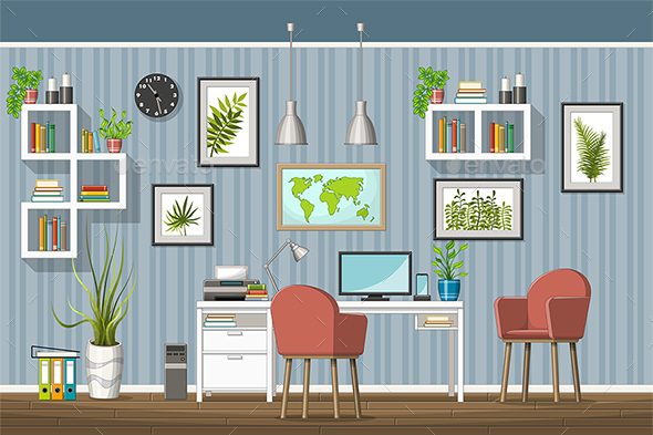 GraphicRiver Illustration of a Modern Home Office 21205686