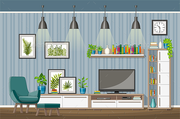 GraphicRiver Illustration of a Modern Living Room 21205690