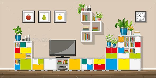 GraphicRiver Illustration of a Modern Living Room 21205695