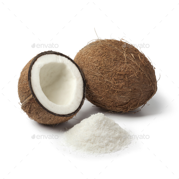 Coconuts with white shredded coconut meat - Stock Photo - Images