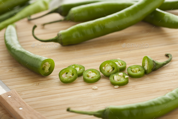Green hot chili peppers - Stock Photo - Images