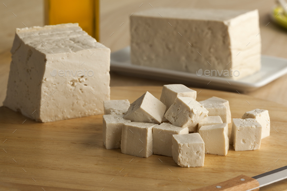 Fresh cut pieces of tofu - Stock Photo - Images