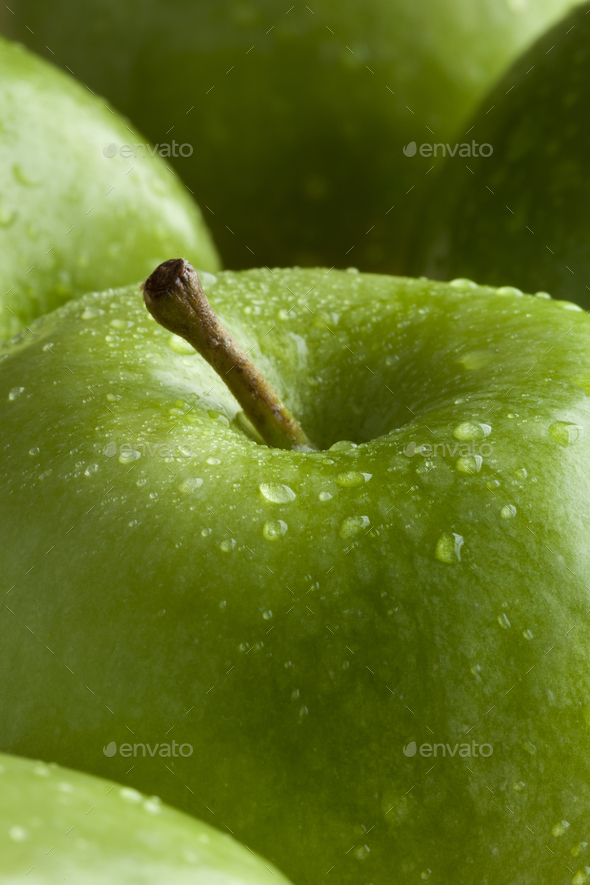 Green apple with water drops - Stock Photo - Images