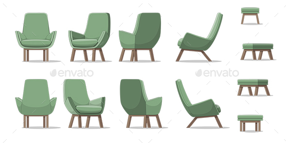 GraphicRiver Illustration of an Armchair in Different Perspectives 21205698