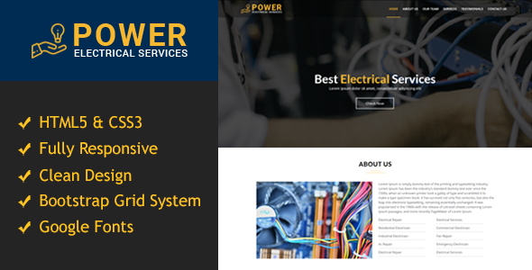 Power - Electrical One Page Responsive HTML5 Template - Business Corporate