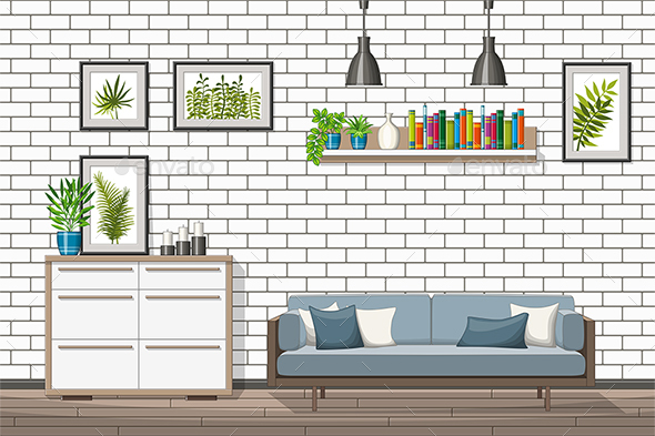 GraphicRiver Illustration of a Modern Living Room 21205703